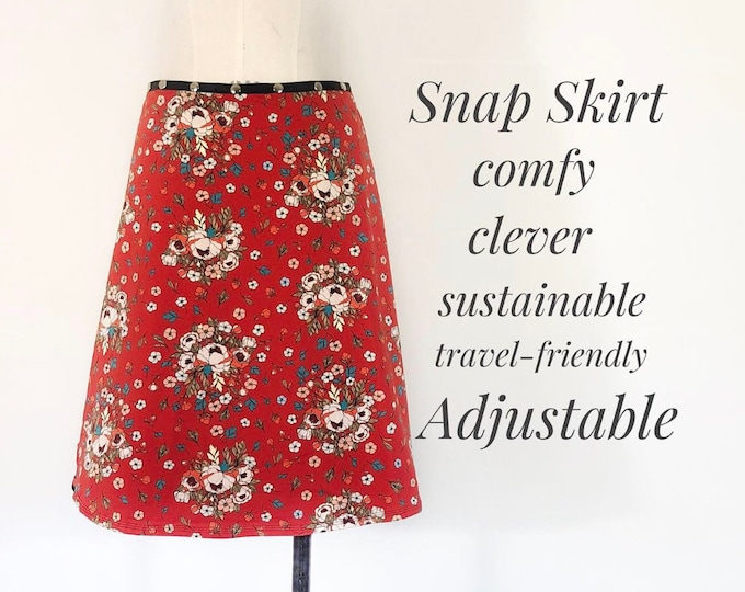 Skirt Adjustable Wrap Snap Cotton Scarlet Bloom Skirt unique clothes for women gift yoga casual travel work Erin MacLeod FREE SHIPPING