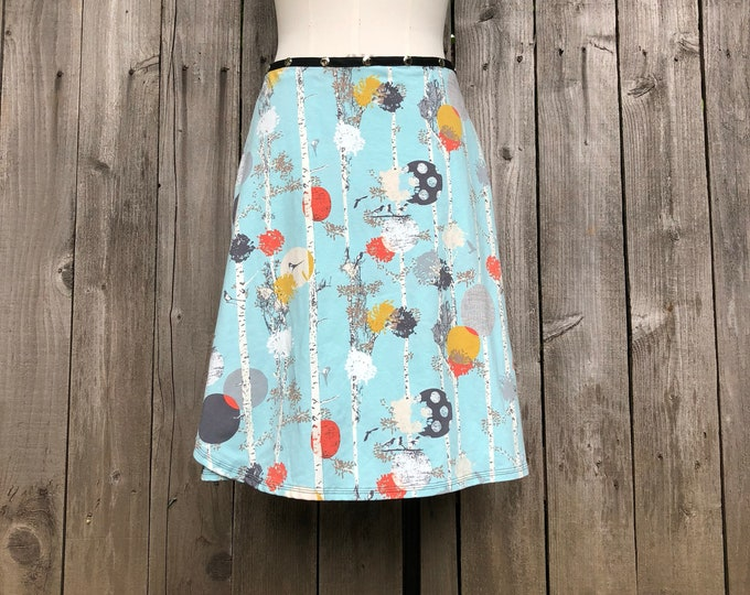 Snap Skirt, Birch Tree with Birds by Erin MacLeod