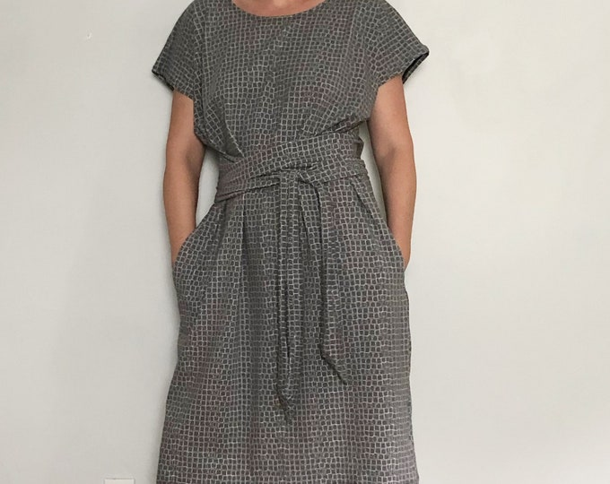 Gray Squares Shift Dress with Pockets