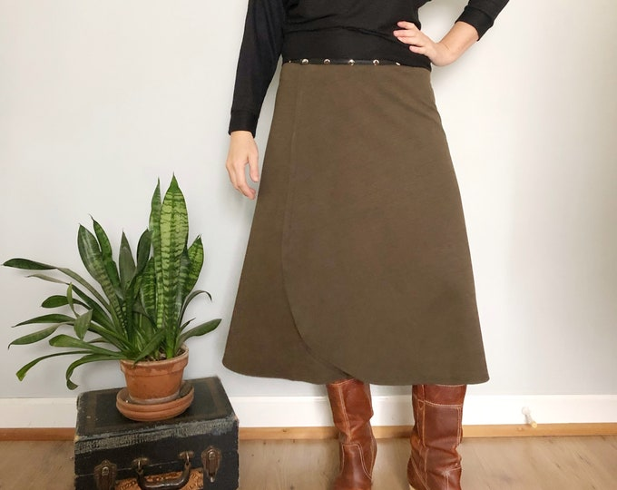 Olive Green Snap Skirt by Erin MacLeod