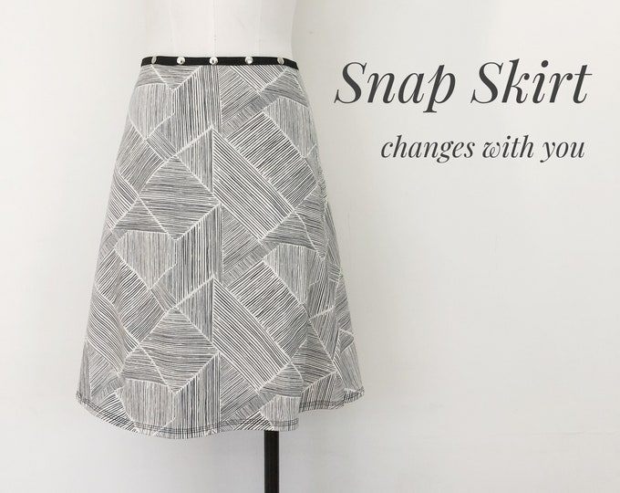 Skirt, Adjustable size, BLACK Lines, snap skirt, Erin MacLeod,