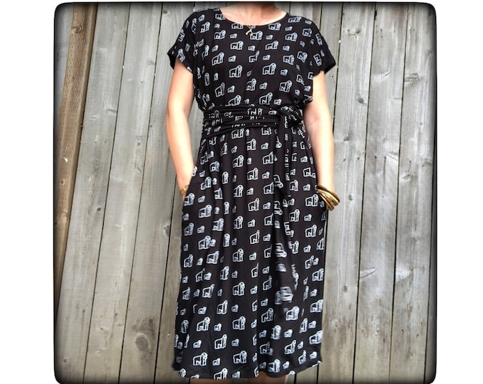 Shift Dress with Pockets Gorillas by Erin MacLeod