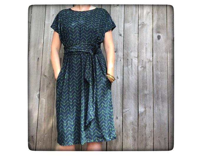Shift Dress with Pockets Chevron by Erin MacLeod