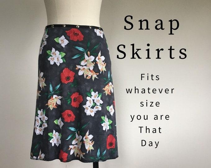 Adjustable Snap Wrap Skirt, Floral spring travel skirt, Erin MacLeod, diet skirt, teacher skirt, gift for her