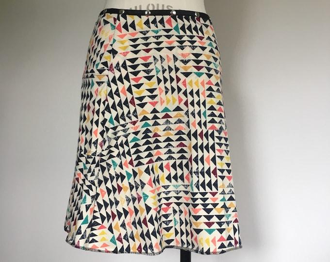 Snap Skirt, Adjustable Wrap Skirt, Erin MacLeod, vacation skirt, cute skirt, colorful summer cotton skirt, plus