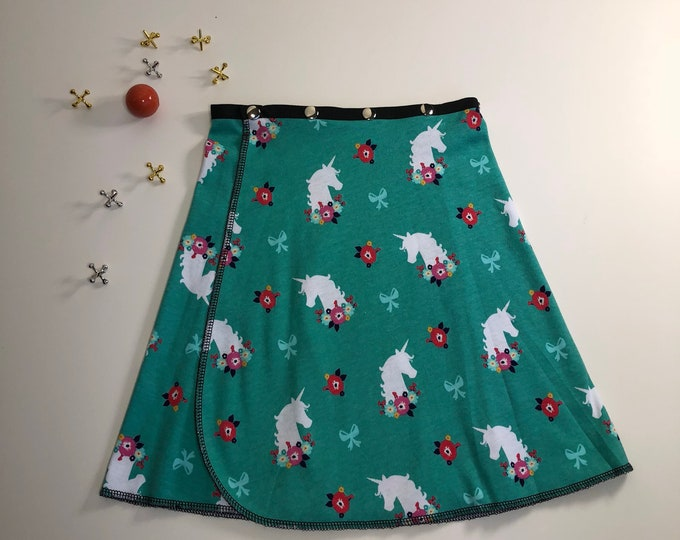 Girl Turquiose Unicorn Snap Skirt, Erin MacLeod, adjustable