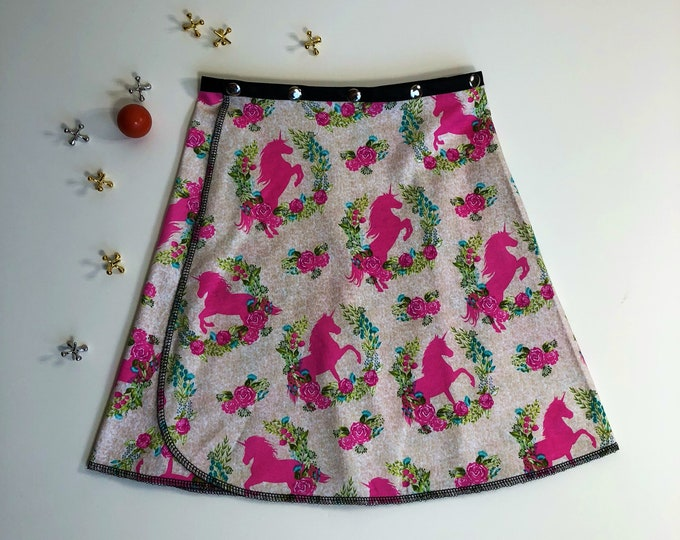 Girl Unicorn Snap Skirt, Erin MacLeod, adjustable