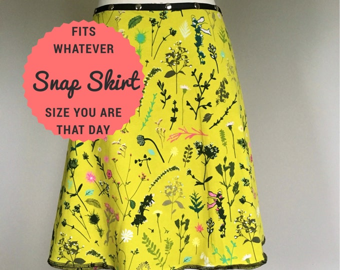 Flower Skirt, Cotton Skirt, one size, Snap Skirt, yellow Skirt, Erin MacLeod, womens skirt, adjustable skirt,