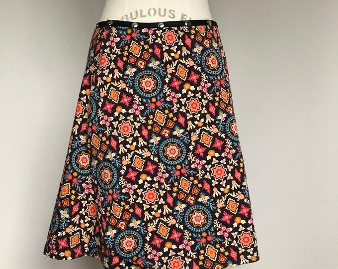 Yoga Skirt, Brown Snap Skirt, Adjustable Mandala Skirt, Erin MacLeod, Boho Skirt