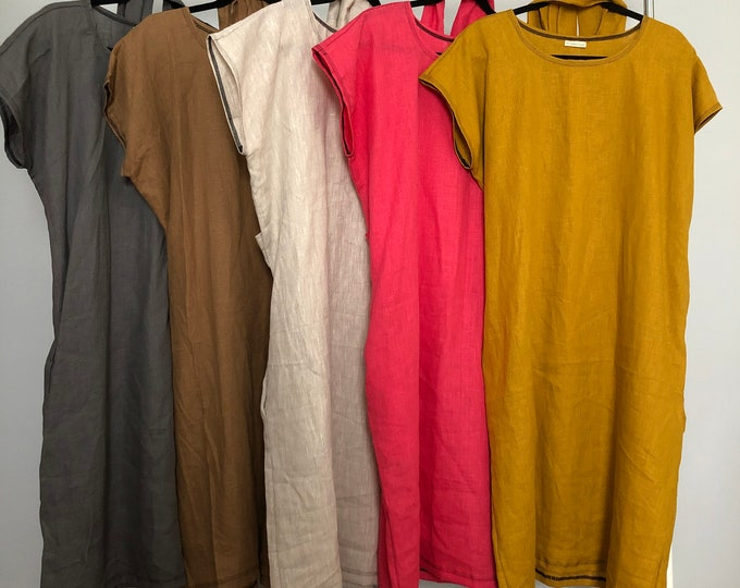 Chose your color: Linen Shift Dress with Pockets fits all sizes