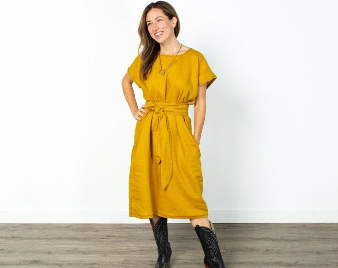 Mustard Linen Shift Dress with Pockets