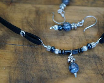 Sterling Silver Necklace and Earrings Jewelry Set, Black Hematite, Gray Glass Bead, Faux Suede Cord