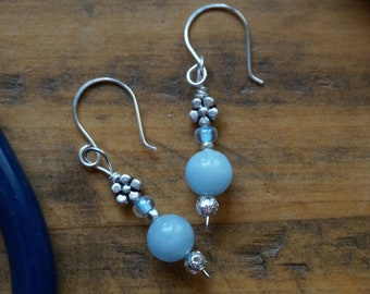 Sterling Silver Aquamarine Floral Earring