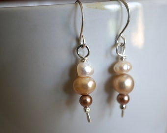 Sterling Silver Earrings with Tan and White Freshwater Pearls