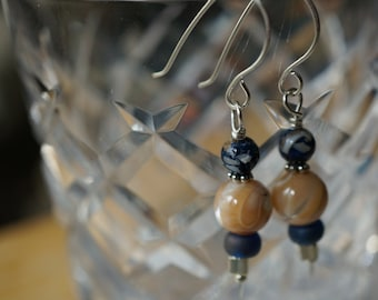 Sterling Silver Mother of Pearl and Blue Gray Glass Bead Earrings