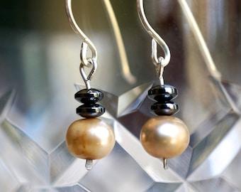Sterling Silver, Tan Freshwater Pearl, Hematite Earrings