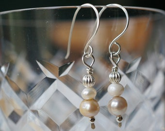 Sterling Silver White and Tan Freshwater Pearl Earrings