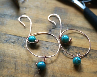 Hammered Copper Hoop Earrings with Wire Wrapped Aqua Beads