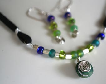 Sterling Silver Necklace and Earrings Jewelry Set, Green Agate, Sterling Swirl, Blue and Green Glass Beads, Faux Suede Cord