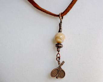 Antiqued Copper Tennis Necklace — Brown Faux Suede Cord — Natural Mother of Pearl — Tennis Racquet Team Captain Gift