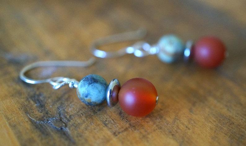 Argentium Sterling Silver Earrings  Red/Orange Carnelian  image 0