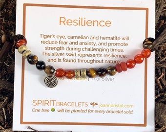 Resilience Bracelet | Strength | Women or Men | Tiger's Eye | Carnelian | Hematite | Thai Silver Swirl