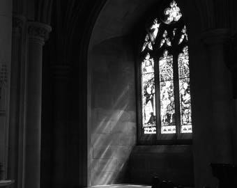 Stained Glass, National Cathedral Black and White, Photography Print