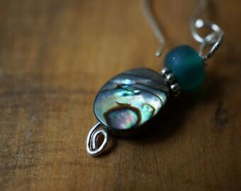 Sterling Silver, Oval Abalone Shell Earrings, Silver Swirl