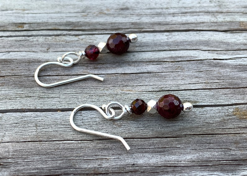 Garnet Open Hoop and Drop Earrings  Argentium Silver  Hill image 0