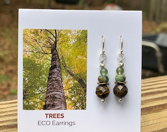 Trees Eco Earrings | Argentium & Hill Tribe Silver | Peridot | African Turquoise | Tiger's Eye