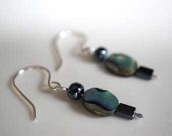Sterling Silver, Oval Abalone Shell, Hematite Earring (1)