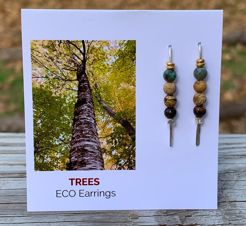 Trees Eco Earrings  Argentium & Hill Tribe Silver  African image 0