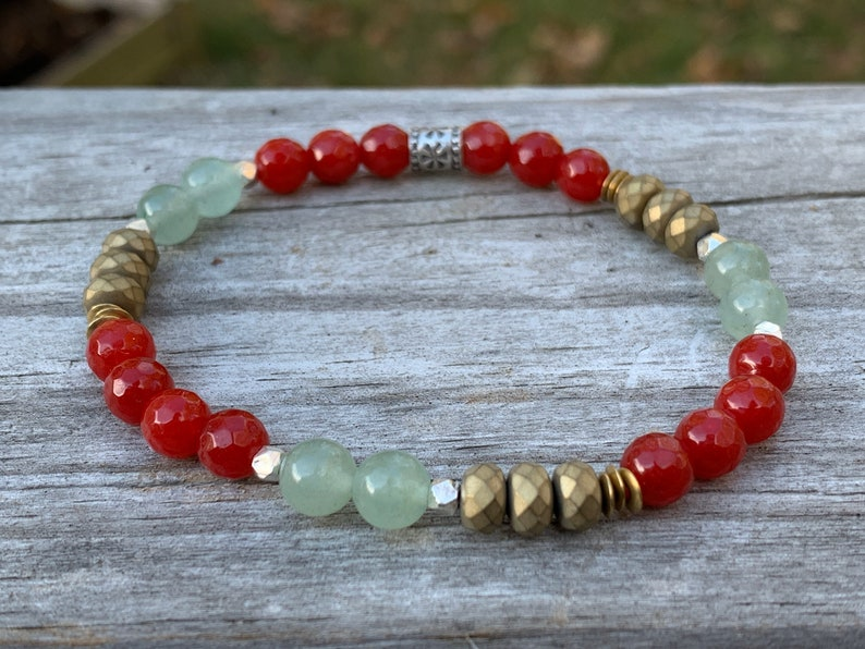 Holiday Christmas Bracelet  Hill Tribe Silver  Red Jade  image 0