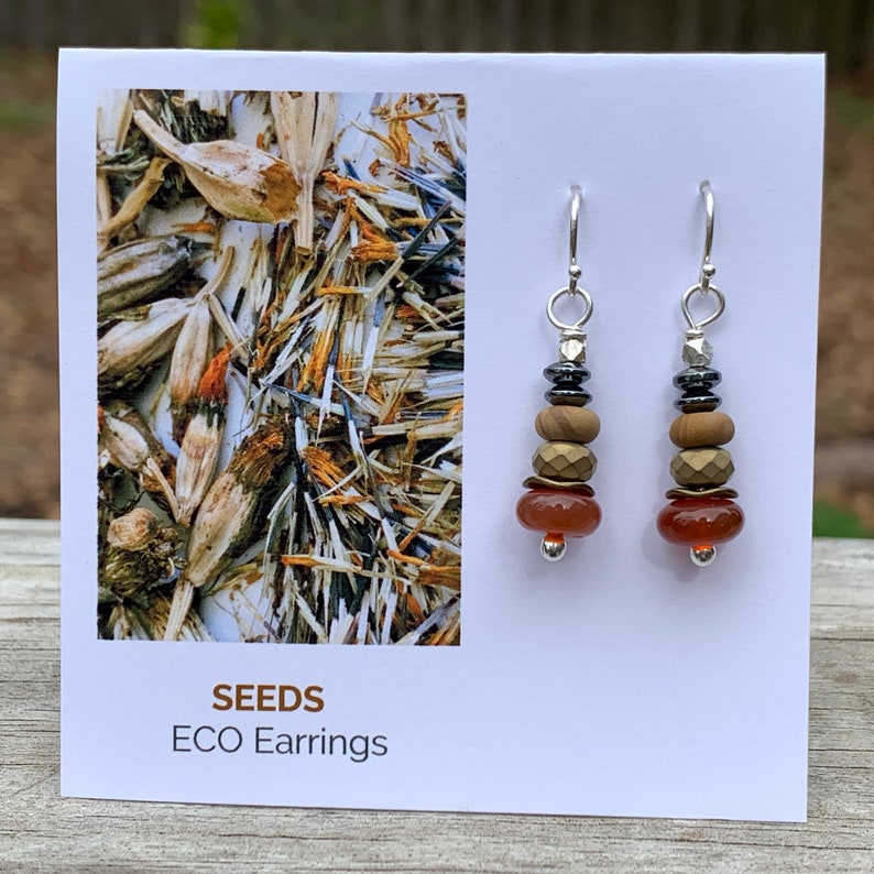 Seeds Eco Earrings  Argentium & Hill Tribe Silver  Orange image 0