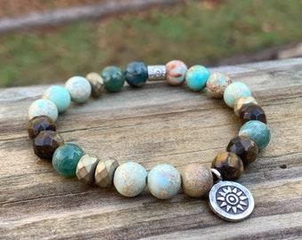 Silver Brown Teal Earth Bracelet | Strength | Jasper, Tiger's Eye, Hematite | Thai Silver Sun