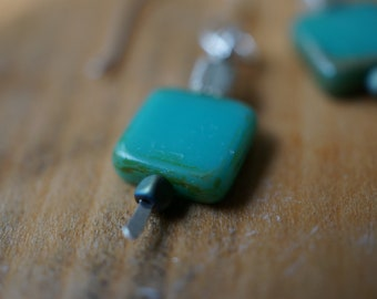 Sterling Silver Square Teal Stone Earrings