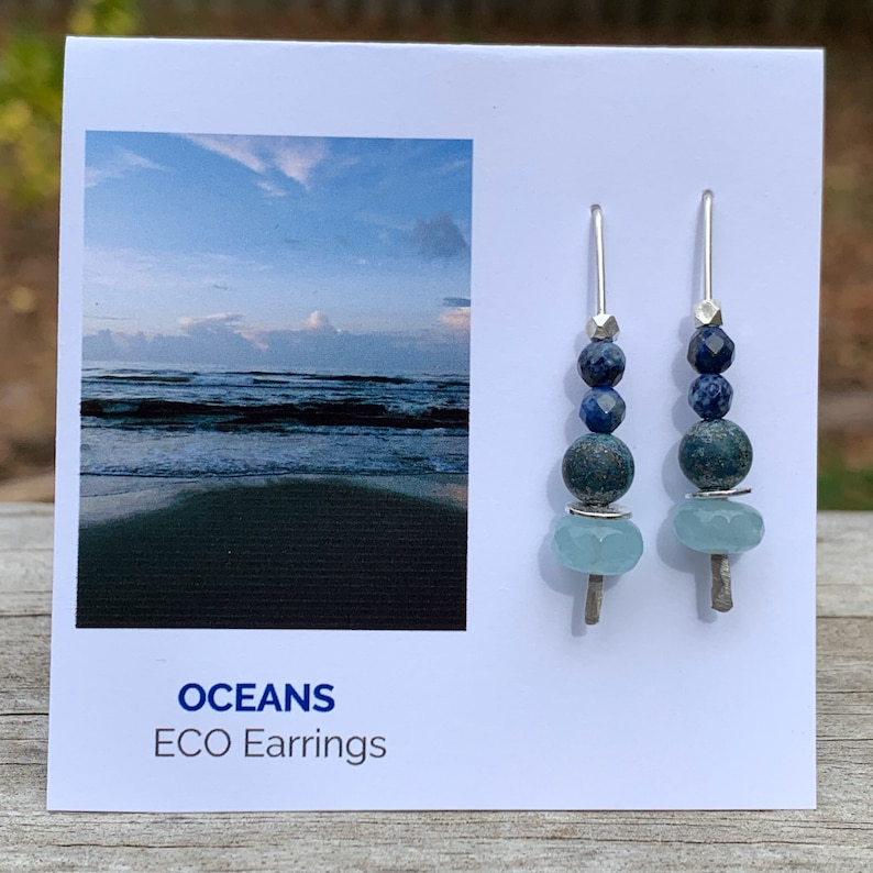 Oceans Eco Earrings  Argentium & Hill Tribe Silver  Light image 0