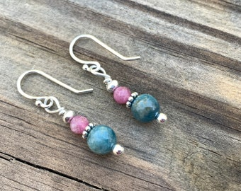 Apatite and Tourmaline Earrings | Blue Pink Earrings | Argentium and Thai Silver Earrings | Drop Style