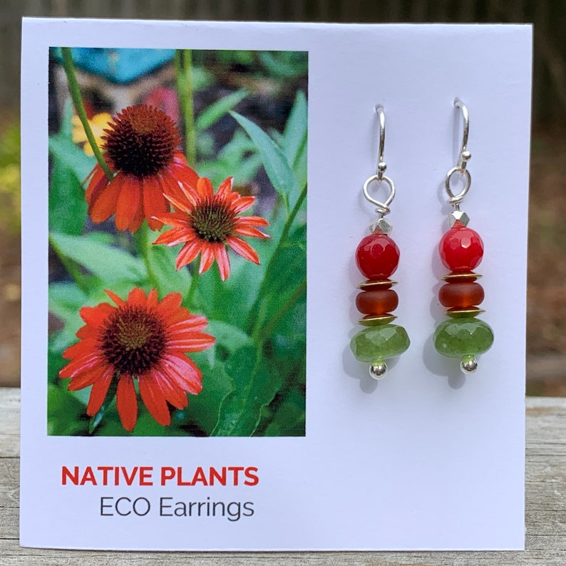 Native Plants Eco Earrings  Argentium & Hill Tribe Silver  image 0
