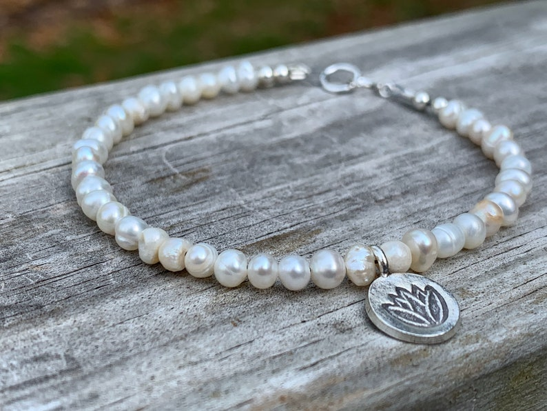 Freshwater Pearl Silver Bracelet  Thai Hill Tribe Silver image 0