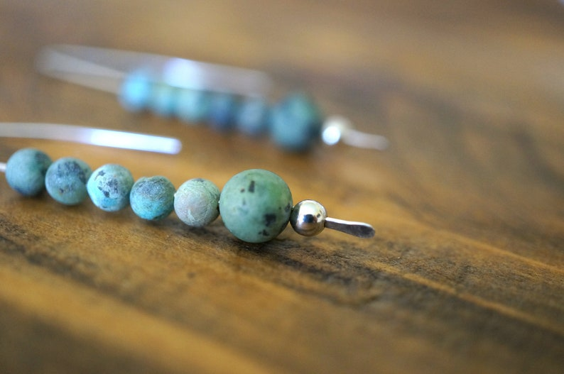 Argentium Sterling Silver African Turquoise Earrings  Drop or image 0