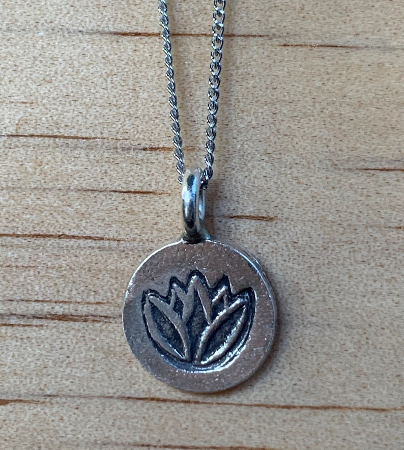 Sterling Silver Necklace  Hill Tribe Silver Charm Lotus  image 0