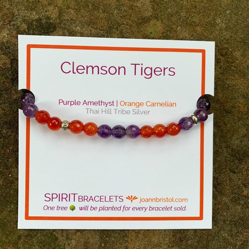 Clemson Tigers Thai Silver Spirit Bracelet  Orange Carnelian image 0