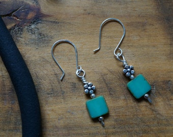 Sterling Silver Earrings with Aqua Square Czech Glass, Silver Plated Flower