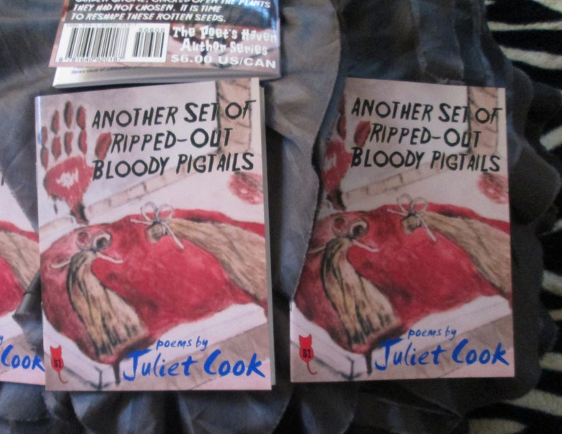Another Set of Ripped-Out Bloody Pigtails - NEW 2019 poetry chapbook by  Juliet Cook - published by The Poet's Haven - horrific, bloody words