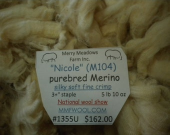 "mmfwool 1355U ""Nicole"" purebred Merino 5 lb 10 oz National WOOL SHOW silky soft fine crimp"