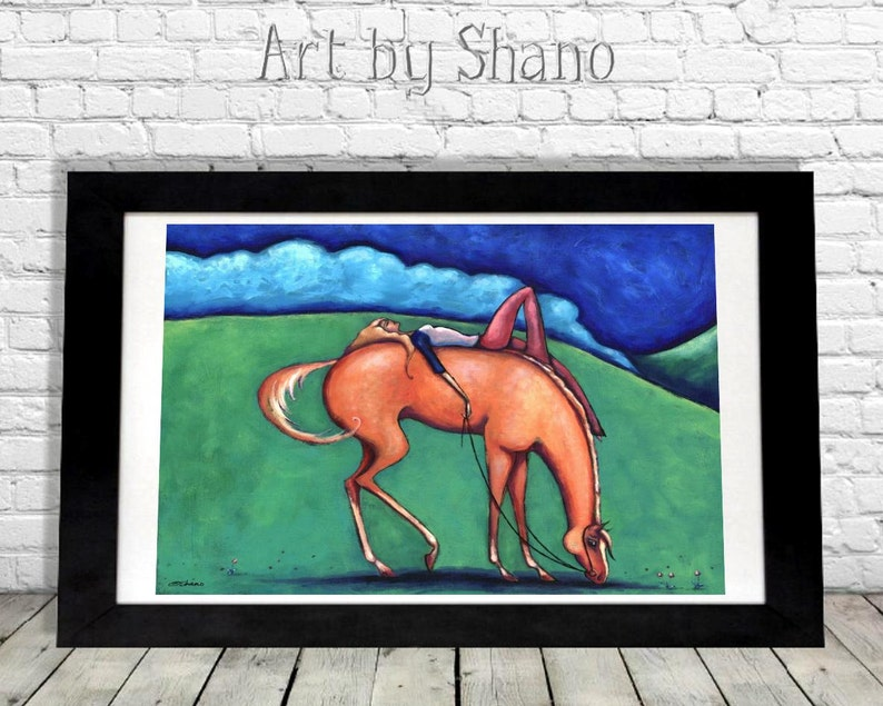 Horse Art Print Equestrian Lovers Gift Idea Modern Girls image 0