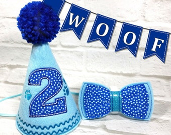 Dog Birthday Hat Personalized And Bow Tie SET Gotcha Day Party Photo Prop Supplies 1st
