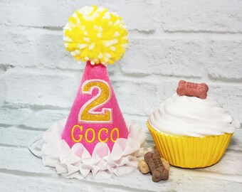 Girl DOG Birthday Hat In Pink Lemonade Theme Personalized Gotcha Day Dogs First Dog Fancy Party Photo Prop