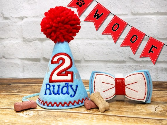Dog Birthday Hat Personalized And Bow Tie SET